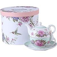 Ensemble de théière, tasse et soucoupe en porcelaine pour une personne à motif floral boîte cadeau