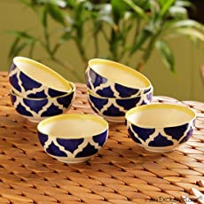 ExclusiveLane Six Mediterranean Bowls Handpainted Ceramic Cereal Bowl, 180ml, Set of 6, Blue/White/Yellow