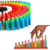 Trinkets & More® Calculation Shelf + 100 Pieces Dominoes Blocks Set (Combo) Abacus Counting Addition Subtraction…