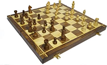 Lunatic CRAFTWORK Collectible Folding Hand Carved Wood / Wooden Chess Game 16X16 inches Board Set with Wooden Pieces