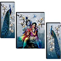 SAF Set of 3 Radha Krishna with Couple Peacock UV Textured Home Decorative Item Self Adhesive Painting 18 Inch X 12 Inch…
