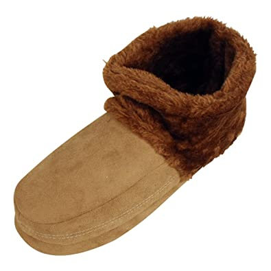 Mens Dunlop Ankle Boot Furry Slipper Bootee Faux Suede Slippers ...