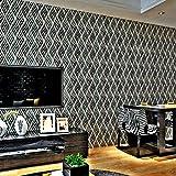 HANMERO Papier Peint Adhésif Autocollant-2m*0.45m-Vintage Trompe l'oeil Motif de Feuille Vinyle PVC pour Cuisine Meuble Placard Table Effet 3D Sticker Mural, Noir et Blanc