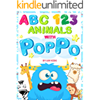 My First Animals ABC and 123 with Poppo Blue Monster picture book: Learning to Count Numbers and Alphabet with Animals for Toddler and Preschool