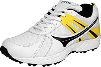 B-TUF Cruze Cricket Shoes/Studs Rubber Spikes Unisex (White/Yellow)
