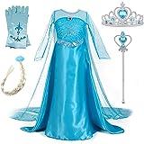 New front Niñas Vestido de Princesa Elsa Elegante Disfraz de Reina Frozen Festivo y Accesorios Corona,Vara,Trenza,Guantes Chi