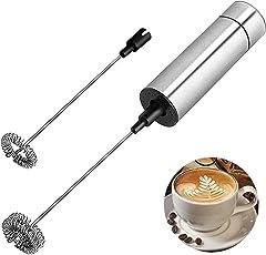 Milchaufschäumer-Handbatterie Milchschäumer Edelstahl Stabmixer für Kaffeemilchschaum Milchaufschäumer elektrisch