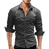 L'amore Mens Denim Shirts Casual Stud Button Long Sleeve Westerm Cowboy Slim Shirts