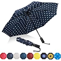 Eono by Amazon - Folding Umbrella Compact Travel Umbrella Durable Rain Umbrella Portable Umbrella with Teflon Coating-Reinforced Canopy, Ergonomic Handle, Auto Open/Close, Blue/White Dot