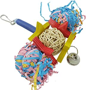 Catkoo Pet Chewing Toy,Cute Foraging Bird Parrot Shredder Cage Toys for Cockatiel African Grey Conure,Nibbling Keeps Beaks Rimmed,Great for Cockatiels,Love Birds and  Parrots Random Color