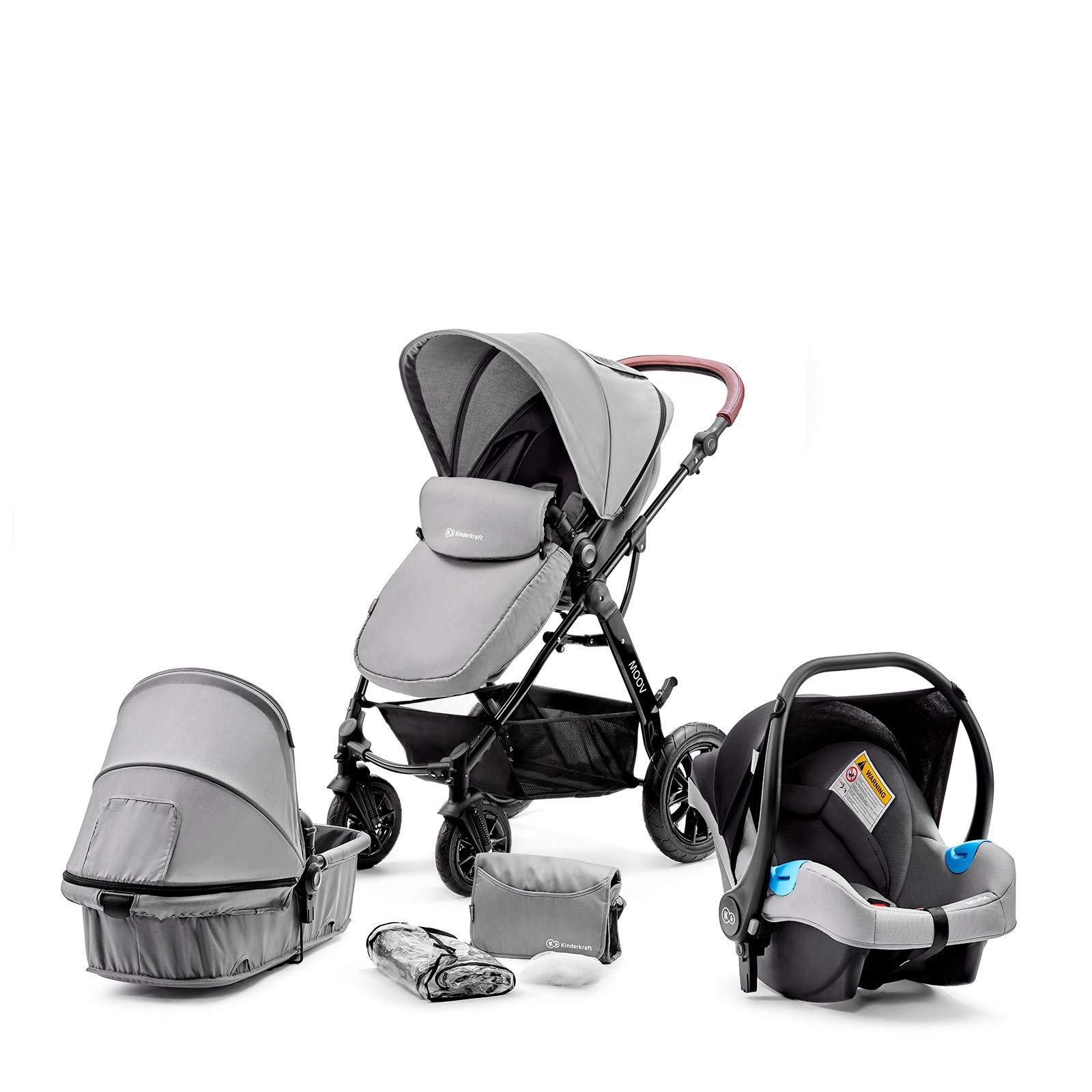 Kinderkraft Kinderwagen 3 in 1 MOOV, Kinderwagenset, Sportwagen, Buggy und Tragewanne in Einem, Babyschale, Große Räder…