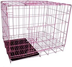 SRI High Quality Single Door Folding Metal Crate (Cage) for Dog and Cat with Removable Tray