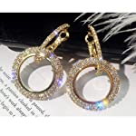 Quner Rhinestone circle long earrings temperament personality earrings Europe and America exaggerated earrings