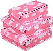 3 Pieces Set Underwear Drawer Cabinet Chief Organizer Storage Box (pink)