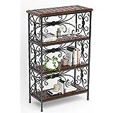AMAZE SHOPPEE Wood; wrought Iron Utility Storage Shelf,Glossy Finish,Set Of 1,Black; Brown