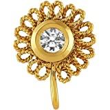 Accessher AD Gold Plated Circle Nose pin/Nath Clip On Nose Ring Small Nath Kundan for Women