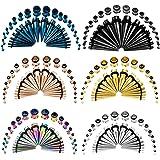 TBOSEN - Set di 36 tappi per dilatatori per orecchie, in acciaio inox, con occhiello, 14 g-10 mm