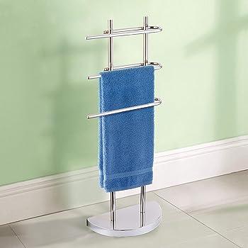 Silver Ribelli/® Mallaea Free Standing Towel-Stand with 3 U-shaped Arms Chromed 3 tier Towel-Rack Bathroom Bath Towel-Rail 3 Bar Towel-Holder