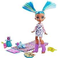 Cave Club coffret Pyjama Party Préhistorique avec poupée Tella aux cheveux bleus, figurine bébé canidé Hunch et…