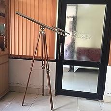 "NAUTICALMART Solid Brass Griffith Astro Floor Standing Telescope 64"" 15x Magnification Marine Telescope, Ships Telescope, Old Antique Nautical Telescopes"