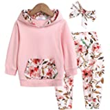 trudge 3 Stück Babykleidung Set Neugeborenes Kleinkind Baby Mädchen Langarm Floral Hoodie Sweatshirt+ Hose+ Bogen Stirnband O
