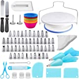 Cake Decorating Kit, 107 PCS Baking Supplies With 11 Inch Cake Turntable, Cake Sculpting Tools Icing Tips, Cake Spatulas, Pas