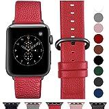 Fullmosa Compatible Watch Bracelet 42mm/38mm 44mm/40mm en Cuir Véritable, Bracelet Watch Series 4 3 2 1 pour Homme Femme,Nike+ Hermes & Edition