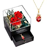 Fiori Stabilizzati con Collana, Confezione Gioielli di Rosa Eterna Regalo per San Valentine, Anniversario Matrimonio, Complea