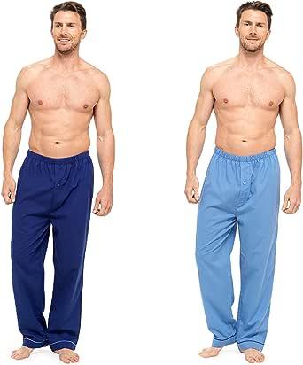 Universal Textiles Mens Plain Pyjama Bottoms/Lounge Pants (Pack of 2)