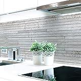 Keuken achterwand stenen lagen grijs premium hard PVC 0,4 mm zelfklevend - direct op de tegels, afmetingen: 400 x 80 cm
