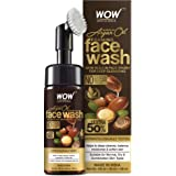 WOW Skin Science Moroccan Argan Oil Foaming Face Wash With Built-In Brush - Contains Argan Oil & Aloe Extracts - For Dry To N