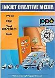 PPD Stickers A4, Vinyle Brillant, Qualité Photo, Impression Jet d'Encre, 20 Feuilles, PPD-36-20