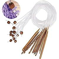 12 pièces Aiguilles Circulaires Bambou, Bambou Naturel Crochet De Tapis Afghan Tunisien Flexible Crochets Aiguilles…
