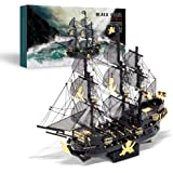 Piececool 3D Metal Model Kits for Adults - Black Pearl DIY 3D Metal Jigsaw Puzzle,Ideal Christmas Birthday Gifts for Adults,3