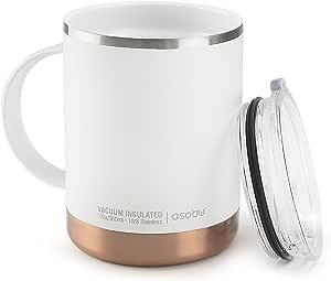 Asobu Ultimate - Tazza termica in acciaio INOX, rivestimento interno in ceramica, colore: Bianco
