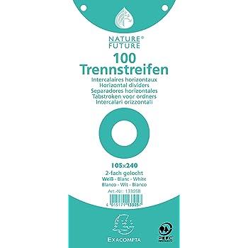 Exacompta 13305B Packung (mit 100 Trennstreifen, premium Karton, 105 x 240 mm, 180 g, 2-fach gelocht) 1er Pack weiß