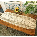 Wudang Floral Faite à la Main au Crochet en Dentelle de Coton Chemin de Table napperons Beige/Blanc (Beige, 40 * 90)