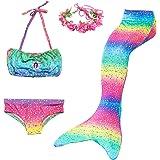 Cola de Sirena Niña 4pcs Traje de Baño Mermaid Bikini Establece Disfraz de Sirena para Niña Princesa Cosplay Conjuntos con Di