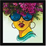 ArtX Women Wall Graffiti Framed Painting (13 x 13 Inches, Multicolor, Synthetic Wood)