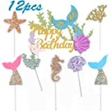 BESTZY 12PCS Glitter Mermaid Topper per Torte Mermaid cake topper Decorations Baby Shower Birthday Party Supplies Articoli pe
