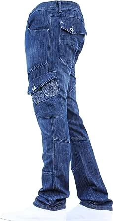 Crosshatch BNWT Designer Branded Heavy Duty Multi Pocket Dark Cargo Combat Denim Jeans Pants All Waist & Leg Sizes