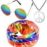 meekoo Ensemble de Costume de Hippie, Comprenant Bandeau Hippie, Collier de Signe de Paix et Lunettes de Style Hippie pour Fê
