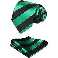 HISDERN Set cravatta classica da uomo verde fazzoletto da matrimonio e fazzoletto da taschino