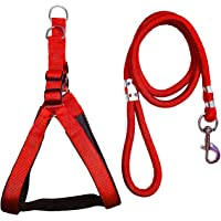 Truvic Nylon Padded Adjustable Dog Harness & Leash Rope 1 inch for Medium Size Pet (Chest Size : 24-29) (Red)