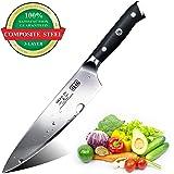 SHAN ZU Couteaux de Chef 3 Couches d'acier Lame en Acier Inoxydable Couteaux de Cuisine 20CM - Elite Series