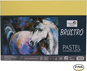 Brustro Artist's Pastel Papers 160 GSM A4 Assorted Bright of 20 sheets ( Pack of 2 )