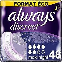 Always Discreet, Serviettes Plus Maxi Night, Pour Fuites Urinaires, 6 gouttes x48