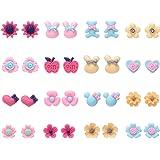 16 paia di orecchini in resina per animali in fiore carino per ragazze