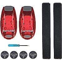 kwmobile 2er Set LED Sicherheitslicht - Dauerlicht Blinklicht Licht Clip Joggen Sport - mit Batterien und Klett Armband…