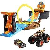 Hot Wheels Monster Trucks Rueda de acrobacias Pista de coches de juguete incluye 2 vehículos (Mattel GYN01)